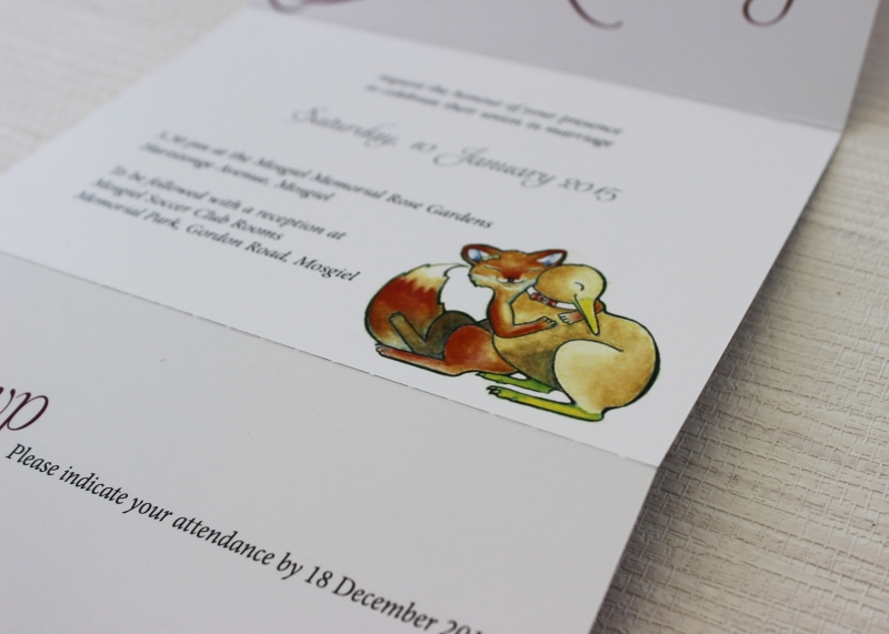Simple Script: John & Pier's Fox & Kiwi Wedding Invites: 10455 - WeddingWise Lookbook - wedding photo inspiration