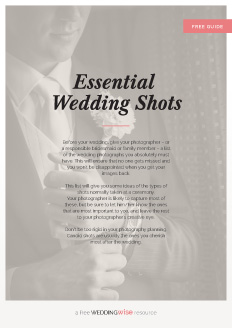 Before your wedding, give your photographer – or a responsible bridesmaid or family member – a list of the wedding photographs you absolutely must have. This will ensure that no one gets missed and you won't be disappointed when you get your images back.   This list will give you some ideas of the types of shots normally taken at a ceremony.   Your photographer is likely to capture most of these, but be sure to let him/her know the ones that are most important to you, and leave the rest to your photographer's creative eye.  Don't be too rigid in your photography planning. Candid shots are usually the ones you cherish most after the wedding.