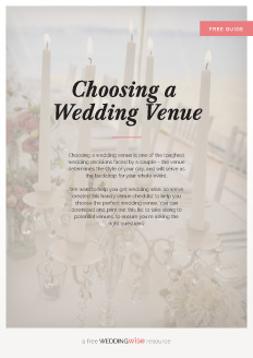 Choosing a wedding venue is one of the toughest wedding decisions faced by a couple – the venue determines the style of your day, and will serve as the backdrop for your whole event.   We want to help you get wedding wise, so we've created this handy venue checklist to help you choose the perfect wedding venue. You can download and print out this list to take along to potential venues, to ensure you're asking the right questions.